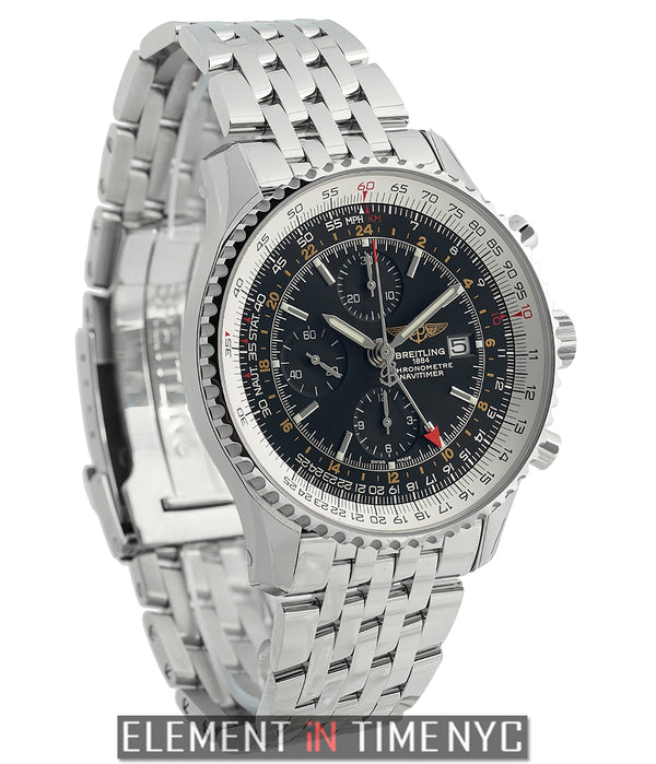 World Stainless Steel Black Dial 46mm Navitimer Bracelet