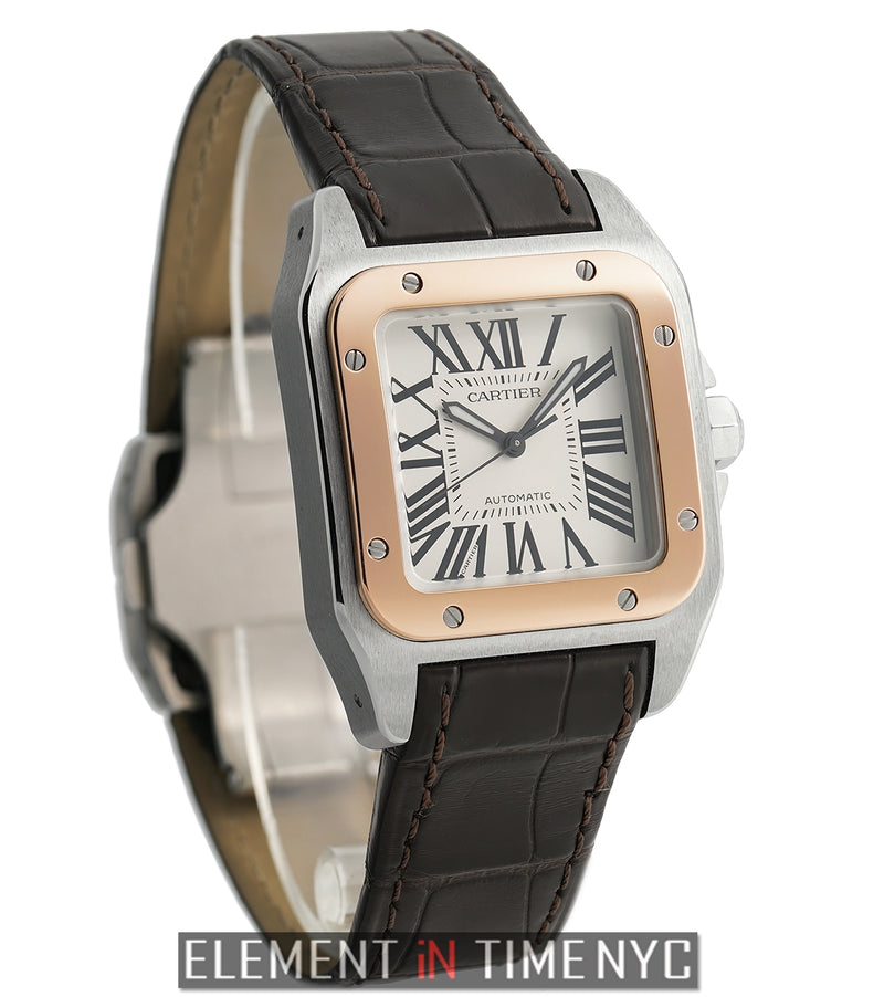 Santos 100 Midsize 36mm Steel & Rose Gold