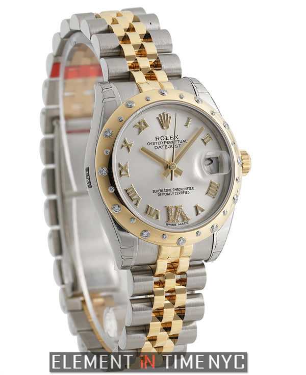 Steel & Yellow Gold 31mm Scattered Diamond Bezel Silver Dial