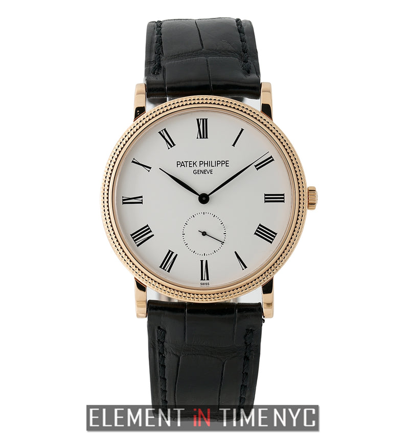 18k Rose Gold 36mm White Roman Dial Manual Wind