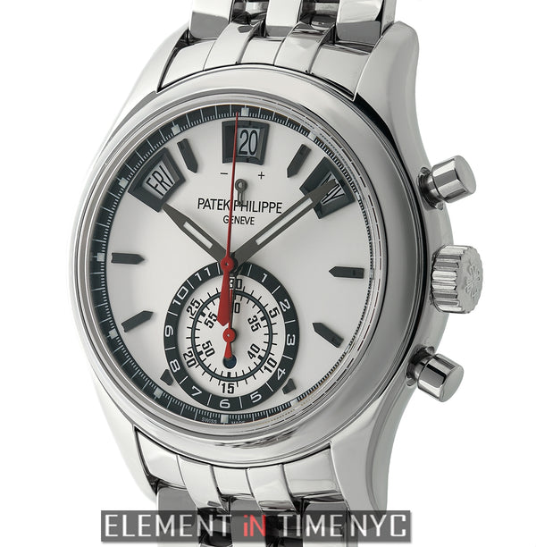 Annual Calendar Flyback Chronograph Stainless Steel Silver Dial