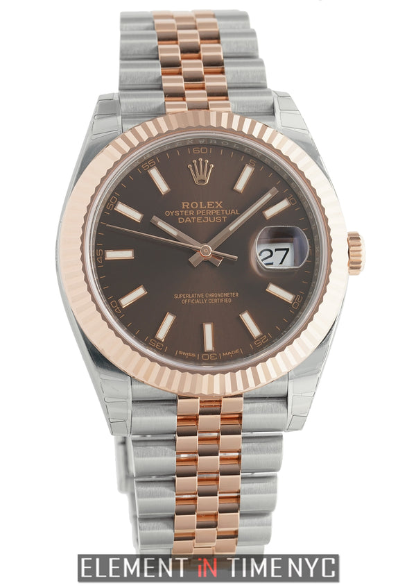 41mm Steel & Rose Gold Fluted Bezel Jubilee Chocolate Dial