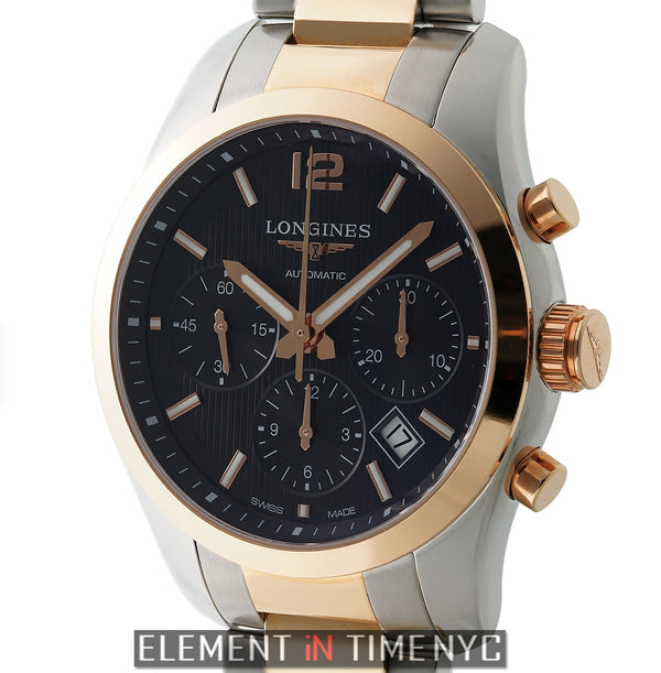 Chronograph 41mm Steel & 18k Rose Gold Black Dial