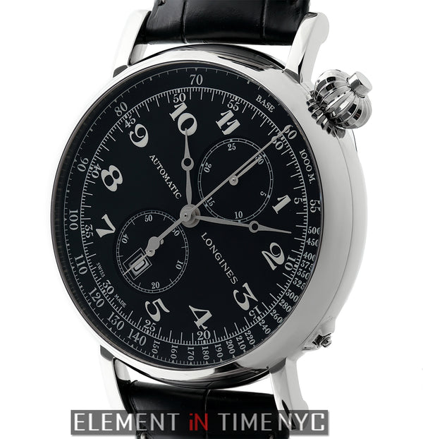 Avigation Stainless Steel 49mm Black Dial Swing Open Caseback