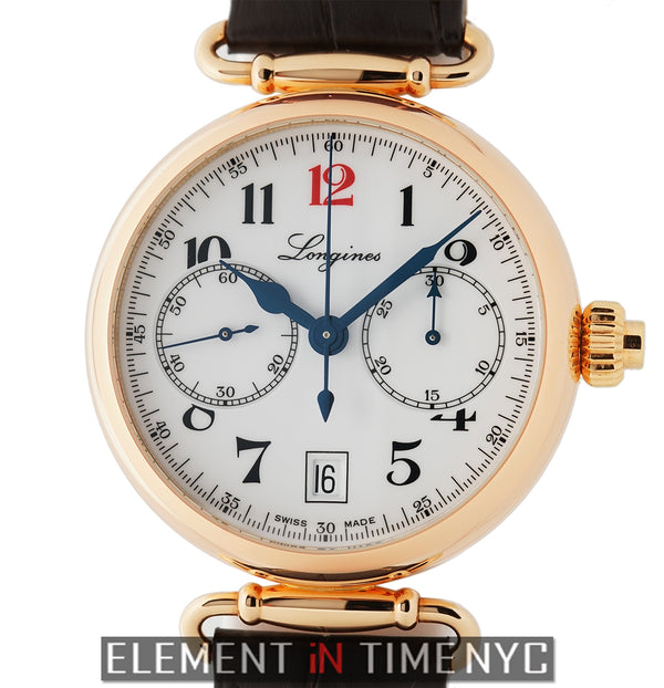 180th Anniversary Monopusher Chronograph Rose Gold Porcelain Dial