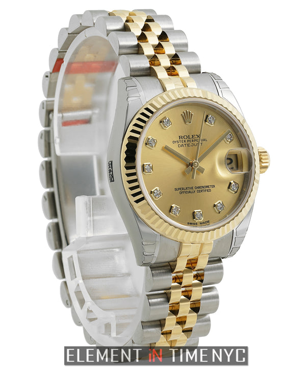31mm Steel & Yellow Gold Fluted Champagne Diamond Dial