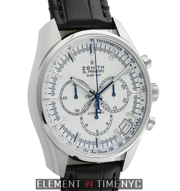 36,000 VpH Chronograph Steel 42mm White Dial