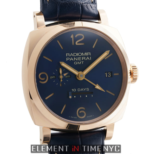 Radiomir 1940 10 Days GMT 18k Rose Gold Blue Dial Boutique Edition
