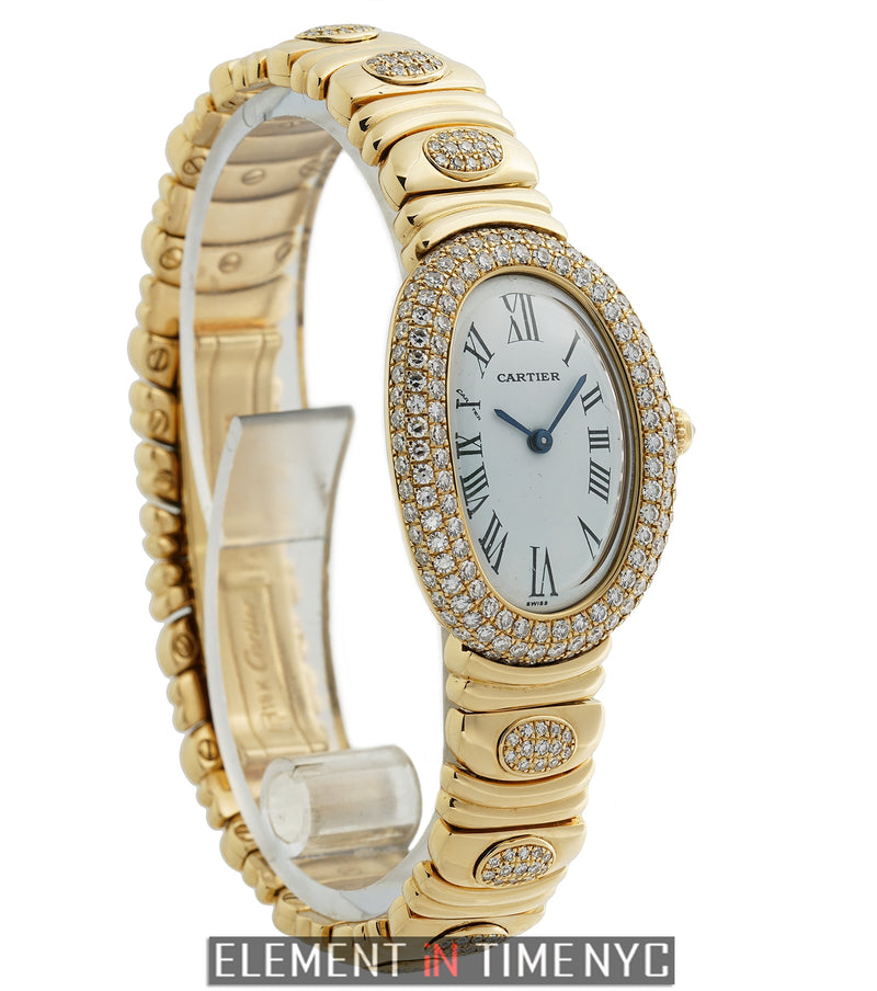 Lady 18k Yellow Gold 23mm Factory Diamond Case & Bracelet