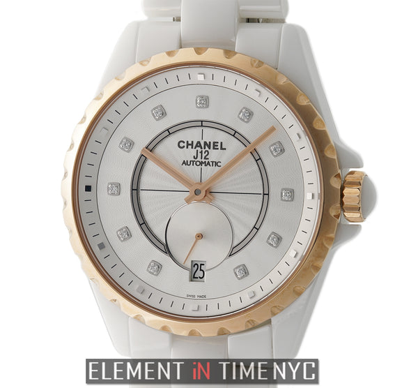 Ceramic & 18k Rose Gold 37mm White Diamond Dial