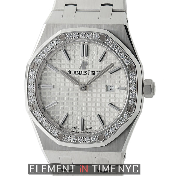 Stainless Steel Diamond Bezel 33mm Silver Index Dial