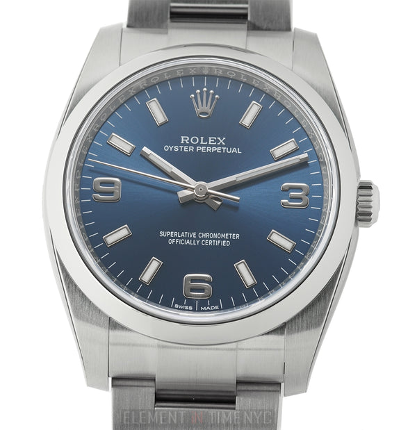No-Date Steel 34mm Blue 3,6,9 Dial