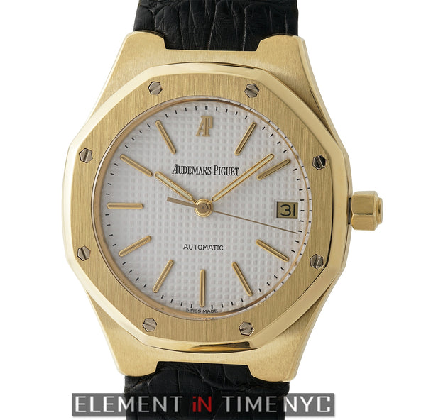 18k Yellow Gold 36mm White Waffle Index Dial