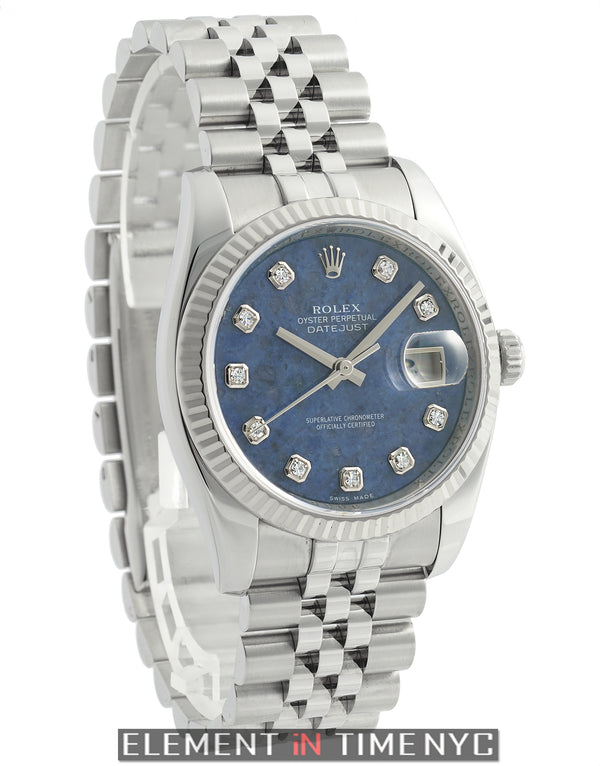 Steel & White Gold Bezel 36mm Sodalite Diamond Dial 2006