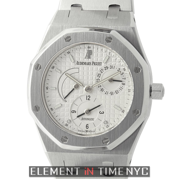 Dual Time Stainless Steel 36mm White Waffle Dial
