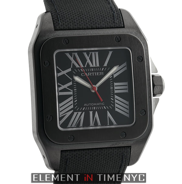 Santos 100 Large ADLC Coated Steel 41mm Black Dial