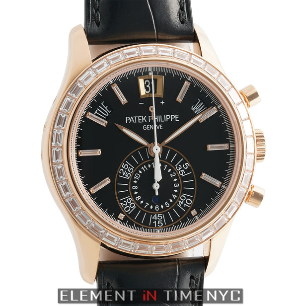 Annual Calendar Chronograph 18k Rose Gold Baguette Diamonds