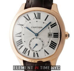 Drive de Cartier 18k Rose Gold 40mm Silver Roman Dial