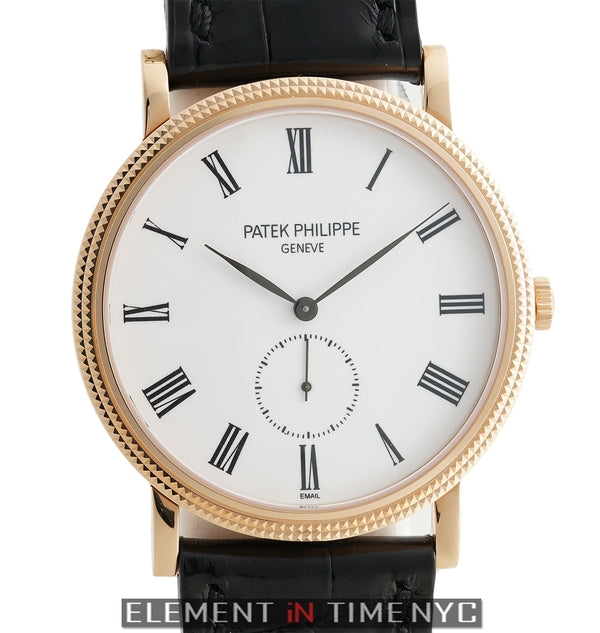18k Rose Gold 36mm White Enamel Dial Manual Wind