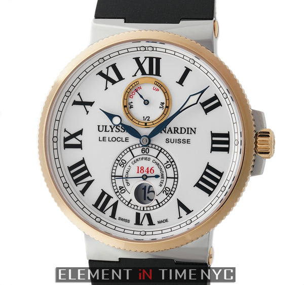 Maxi Marine Chronometer Steel & Gold 43mm White Roman Dial