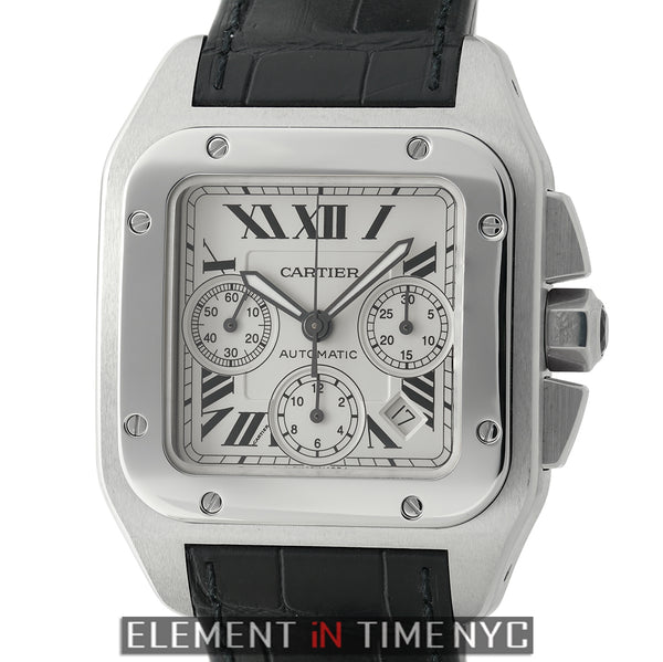 Santos 100 Chronograph XL Stainless Steel 38mm Silver Dial 2009