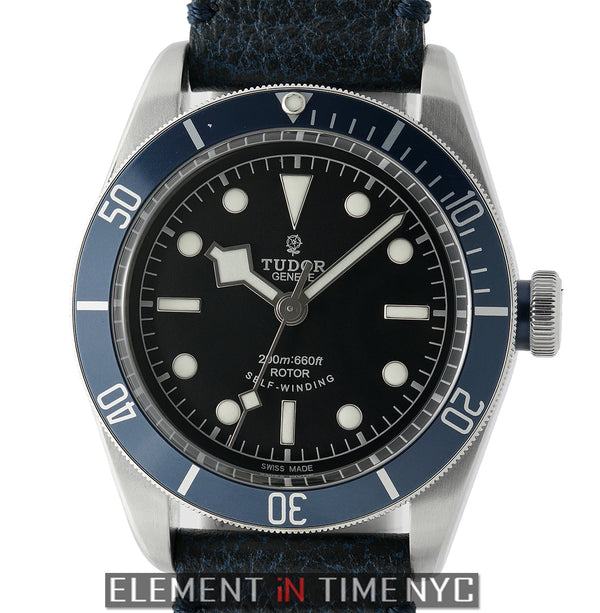 Stainless Steel Blue Bezel Black Dial 41mm