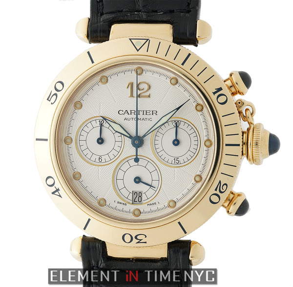 Pasha Chronograph 18k Yellow Gold 38mm Silver Dial