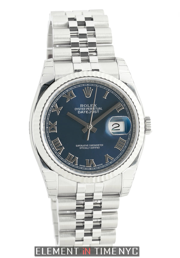 Steel 36mm 18k White Gold Fluted Bezel Blue Roman Dial On Jubilee