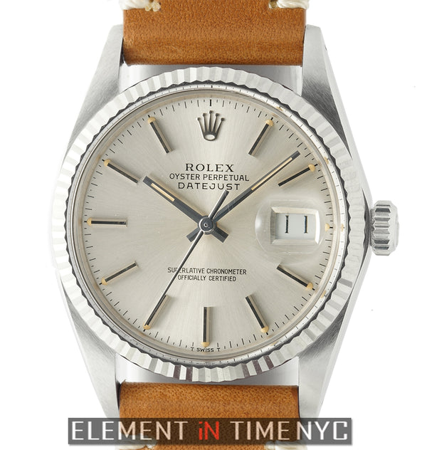 Steel 36mm 18k White Gold Fluted Bezel Silver Dial Circa 1985