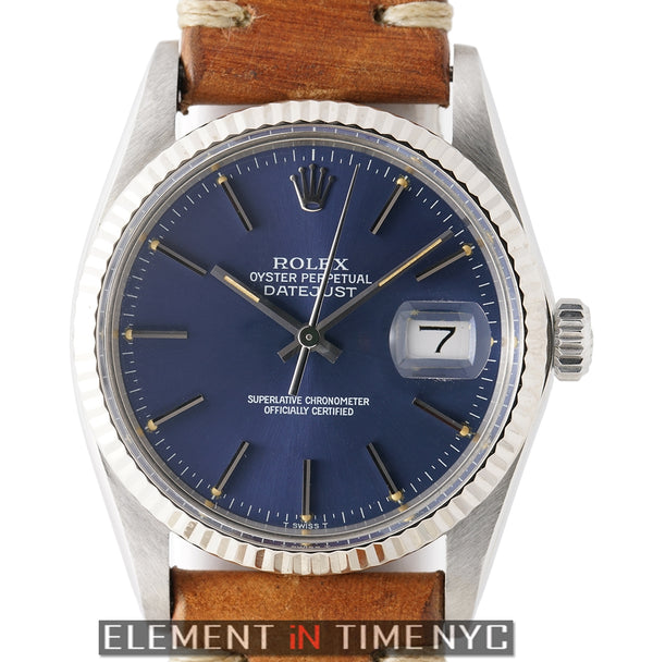 Steel 36mm 18k White Gold Fluted Bezel Blue Dial Circa 1984