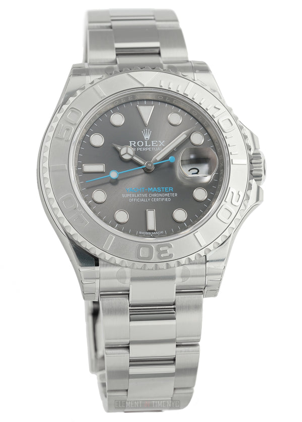 Steel 40mm Platinum Bezel Dark Rhodium Dial