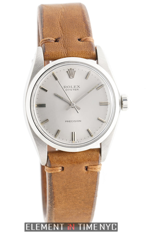 Stainless Steel On Brown Leather 34mm Silver Dial Circa 1973