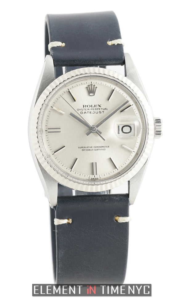 18k White Gold Fluted Bezel Silver Pie Pan Dial Circa 1970 Wide Boy