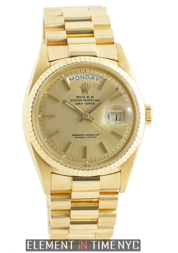 President 18k Yellow Gold 36mm Champagne Stick Dial Circa 1972