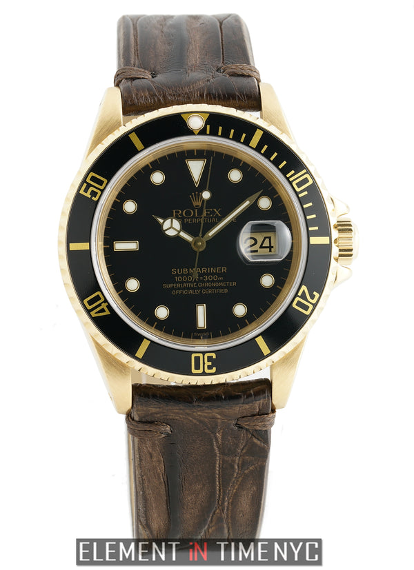 18k Yellow Gold Black Dial On Strap S Serial Circa 1994