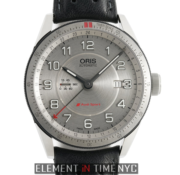 Audi Sport GMT Steel 44mm Silver Dial