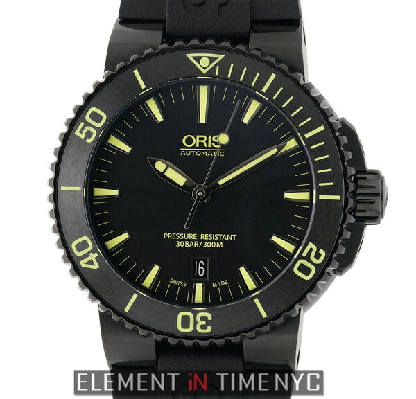 Aquis Date DLC Coated Stainless Steel 43mm Black Dial