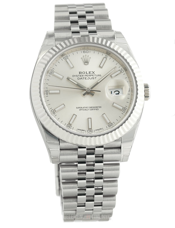 Steel 41mm 18k White Gold Bezel Silver Index Dial Jubilee Bracelet