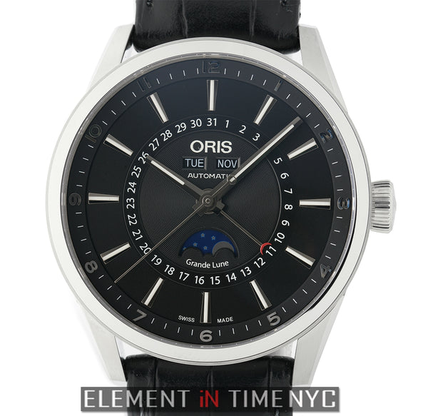 Stainless Steel Automatic Moonphase Triple Calendar Black Dial 42mm