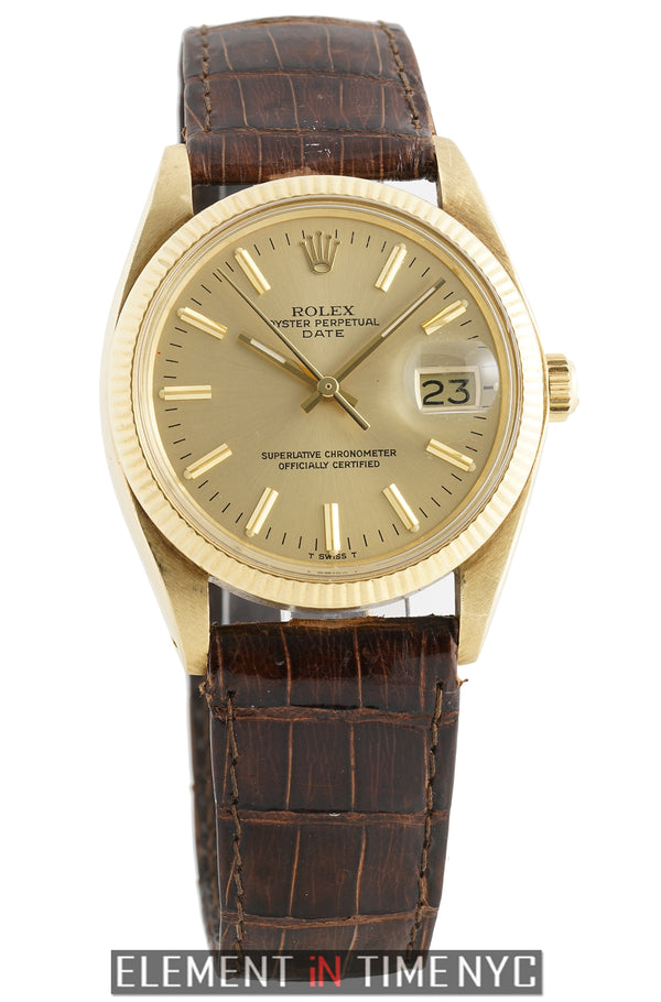 14k Yellow Gold Champagne T-Swiss Dial 34mm Circa 1979