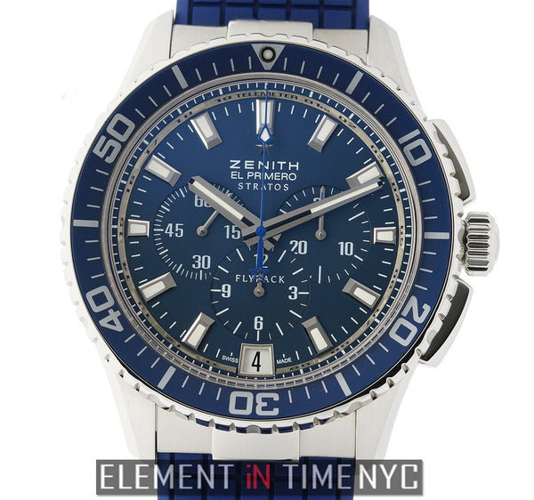 Stratos Flyback Chronograph Steel 46mm Blue Dial On Rubber
