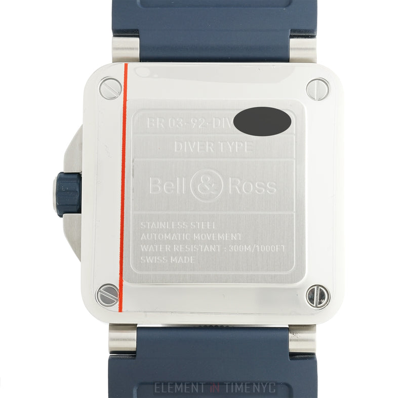 Stainless Steel Blue Dial Blue Bezel Blue Rubber Strap 42mm