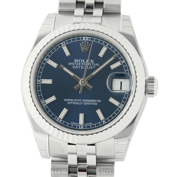 Steel 31mm 18k White Gold Bezel Blue Index Dial Jubilee Bracelet