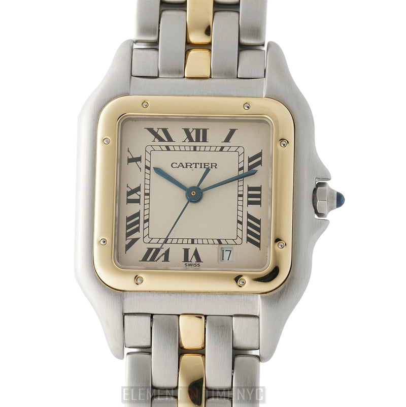 Large Stainless Steel And 18k Yellow Gold Quartz 27mm