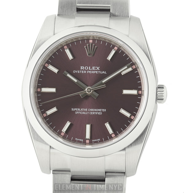 34mm No-Date Stainless Steel Red Grape Dial