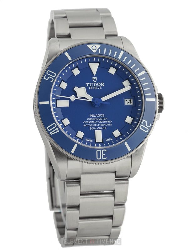 Blue Ceramic Bezel And Blue Dial Titanium And Steel 42mm