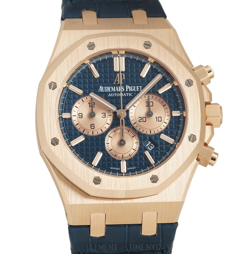 18k Rose Gold Blue Dial Blue Strap 41mm