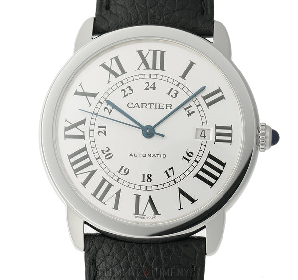 Stainless Steel Silver Roman Dial Black Strap 42mm