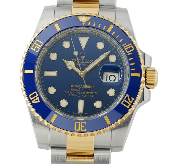 Steel & 18k Yellow Gold Ceramic Bezel Blue Dial 40mm