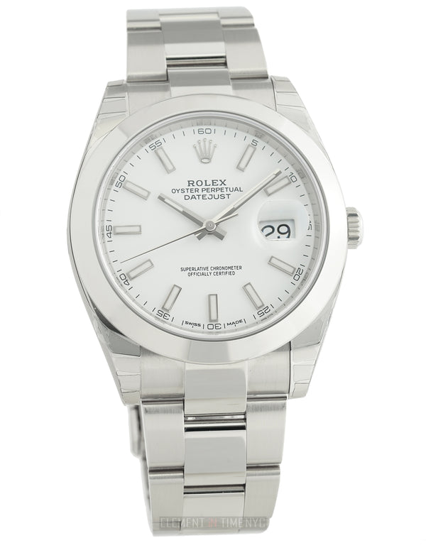 Steel 41mm White Index Dial Oyster Bracelet